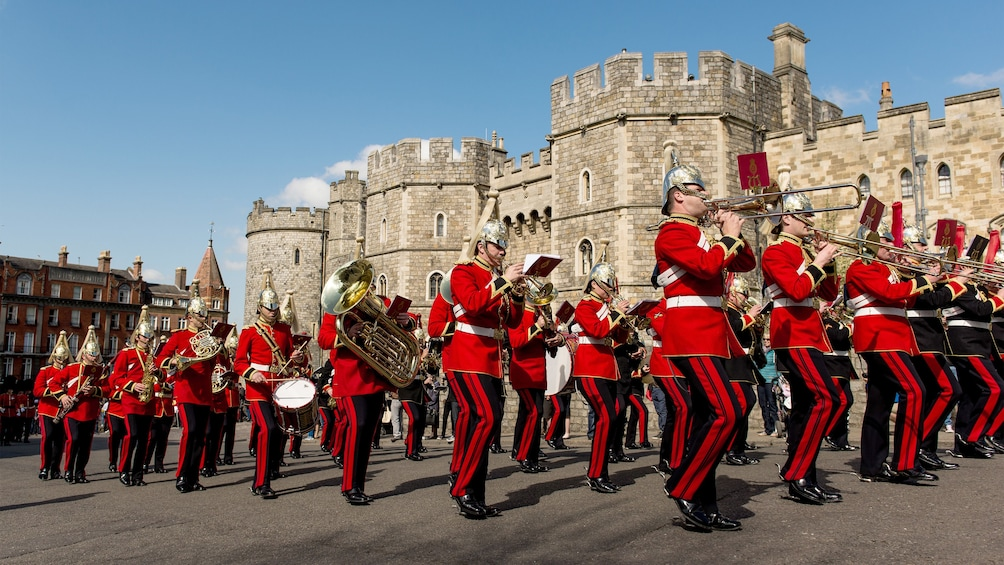 Show item 3 of 5. Marching band at Windsor Castle in England