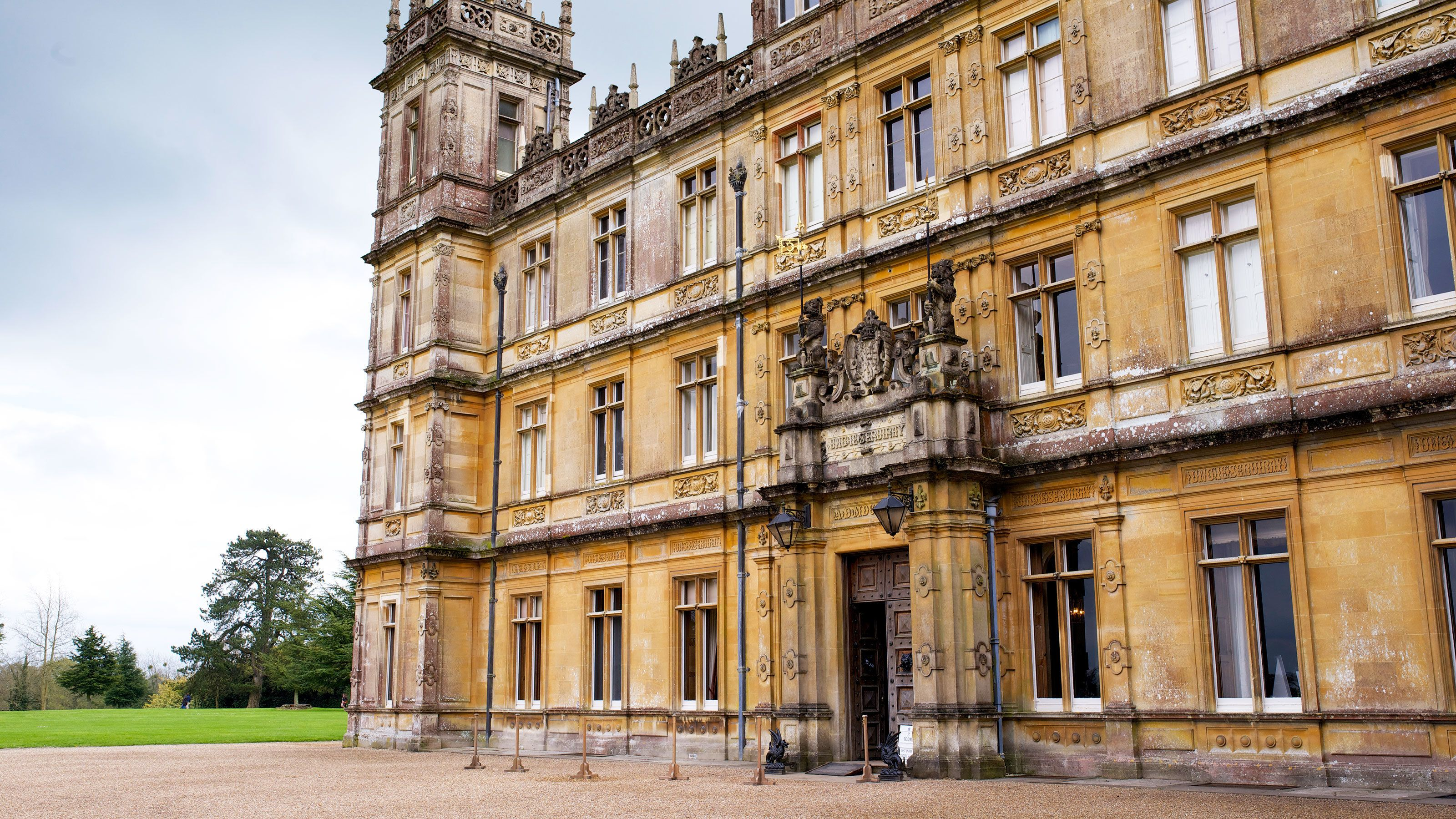 Main entrance of Highclere Castle in Hampshire