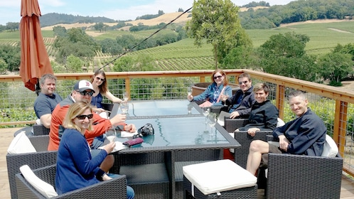 Group enjoying the scenery and wine on the Sonoma Valley Small Group Tour