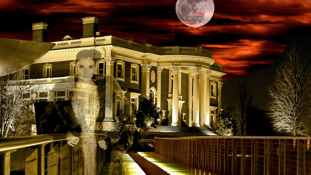 Show item 1 of 6. Ghost of a woman standing in front of a Southern Mansion