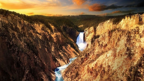 Yellowstone waterfall at sunset in Yellowstone National Park