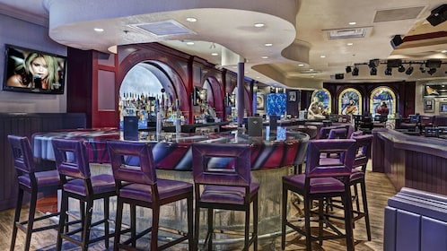 Bar seating inside the Hard Rock Cafe in Miami