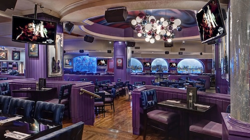 Indoor seating at the Hard Rock Cafe in Miami