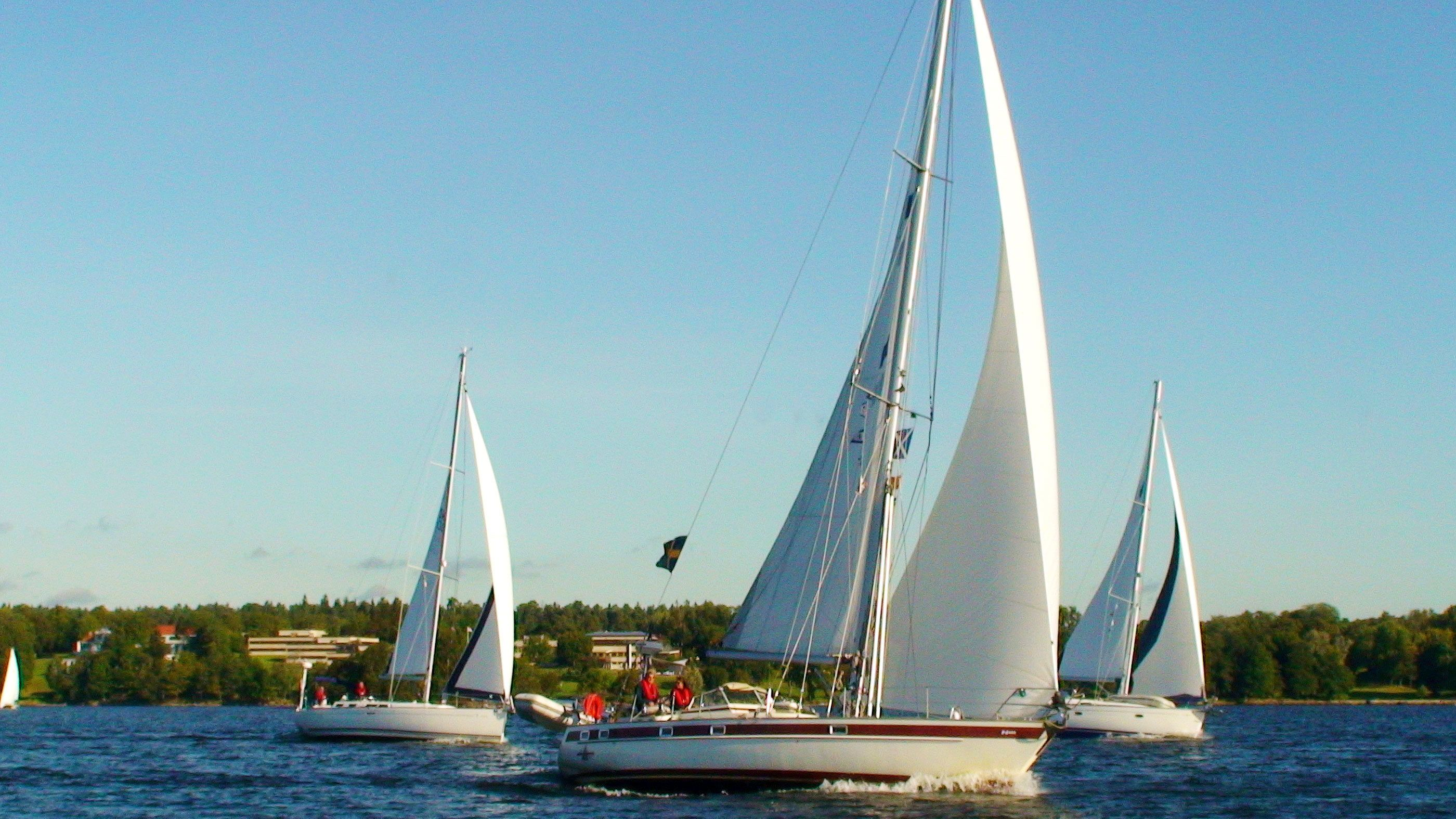 Three sailboats at full sail in Stockholm Archipelago
