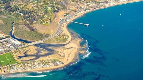 Aerial view of the Santa Monica and Malibu Coast Tour
