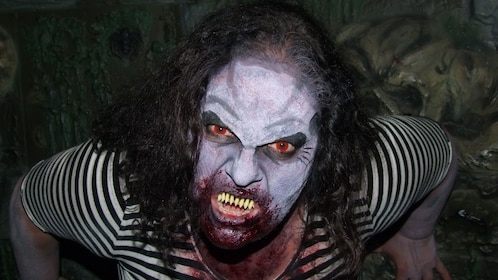 Actress with zombie makeup in Spookers Haunted Attraction Theme Park in Auckland