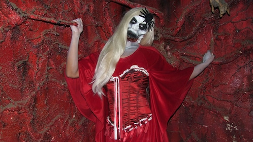 Actress dressed up in scary costume in Spookers Haunted Attraction Theme Park in Auckland
