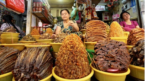 Food sold at the street markets in Hue, Vietnam