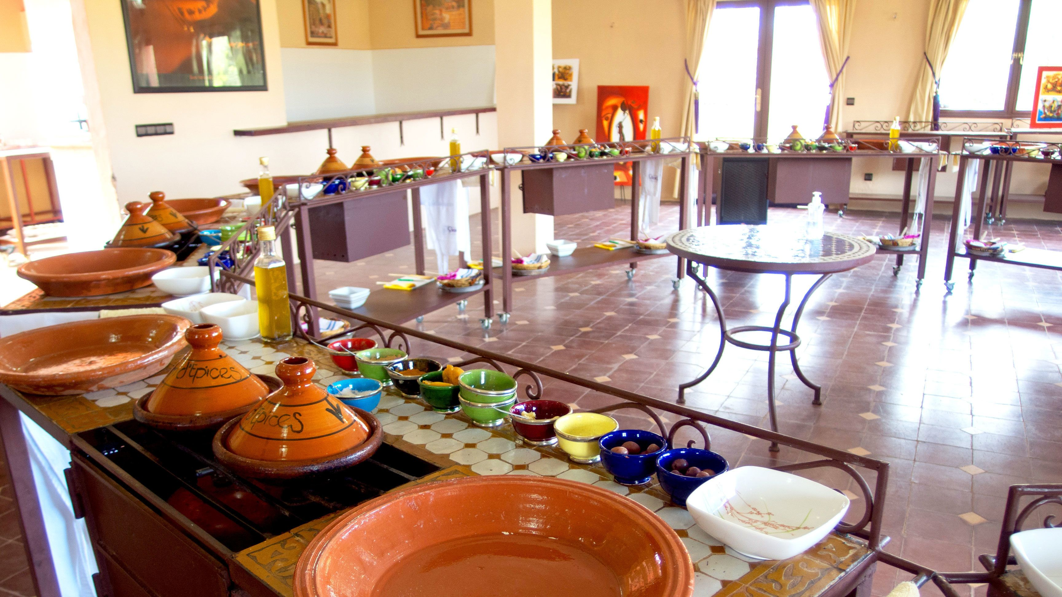 Cooking stations set up in Marrakech