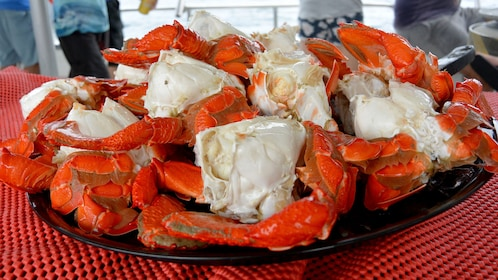 Plate of fresh crab on a boat in Australia