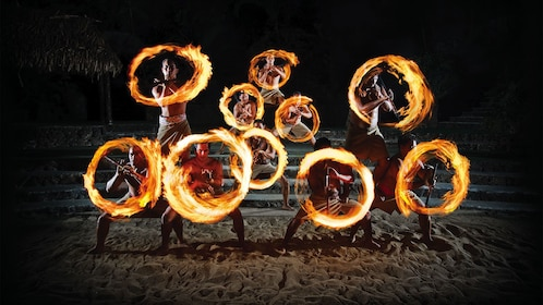Polynesian Cultural Center fire dancing at the luau in Oahu