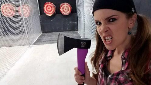 Woman with axe at Axe Monkeys in Las Vegas
