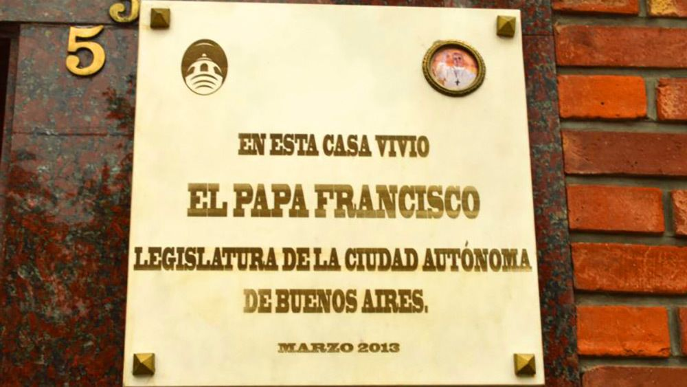 A plaque for Pope Francis in Argentina