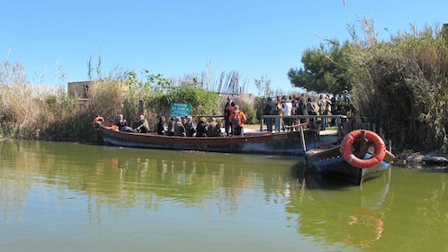Tour group in a docked boat on the Albufera in Valencia