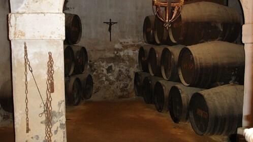 Large barrels of wine at a vineyard in Seville