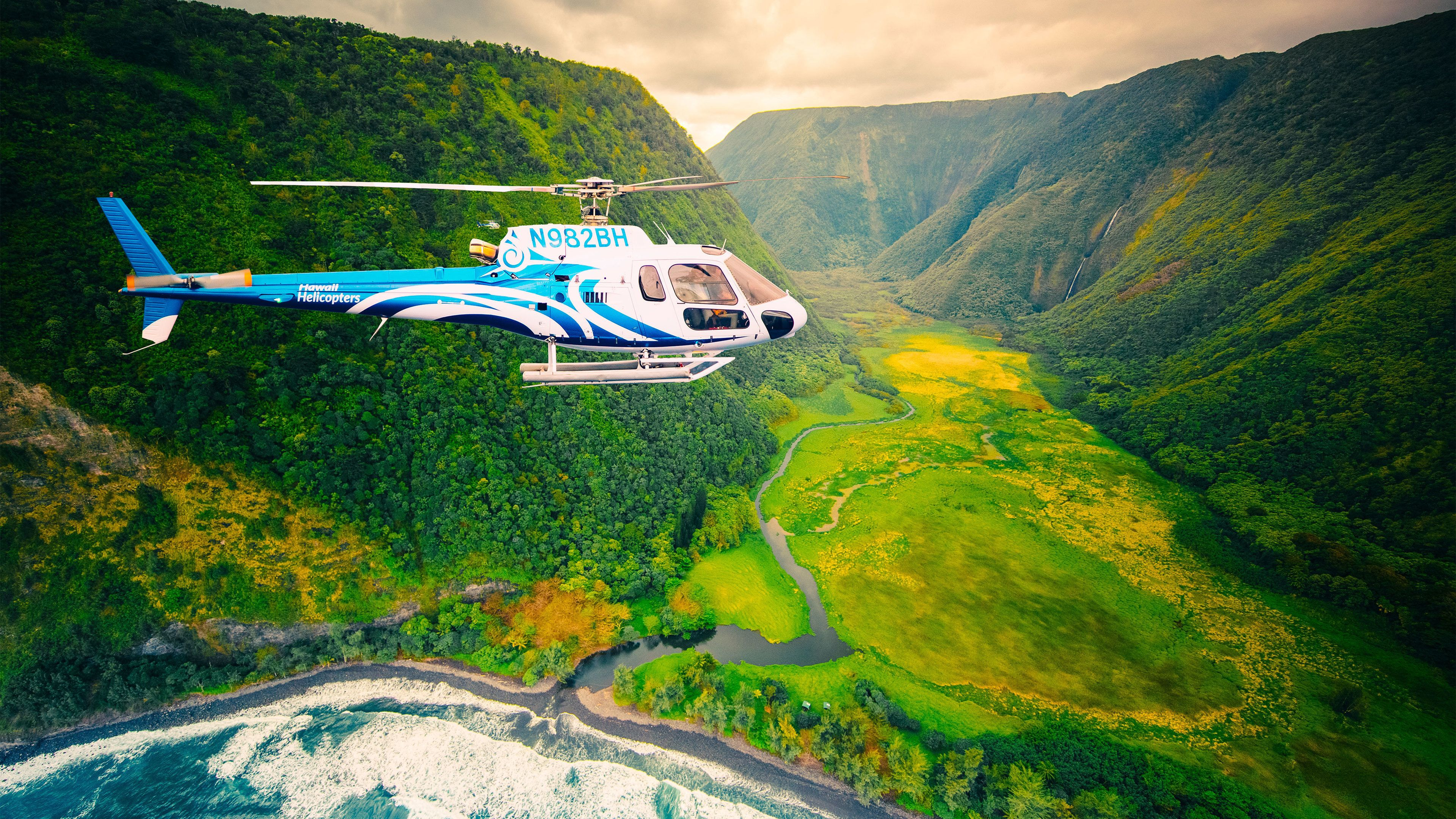 Helicopter with a beautiful view in Hawaii