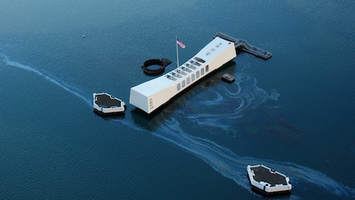 Aerial view of USS Arizona Memorial