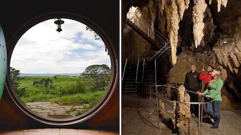 Combo hero image of a house in Hobbiton and a tour group in Waitamo Caves in Auckland