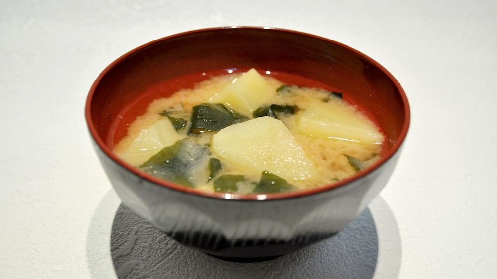 Show item 6 of 6. Miso soup at the Osaka Cooking Class in Japan