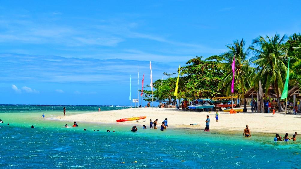 Beach full of people in Cebu, Philippines