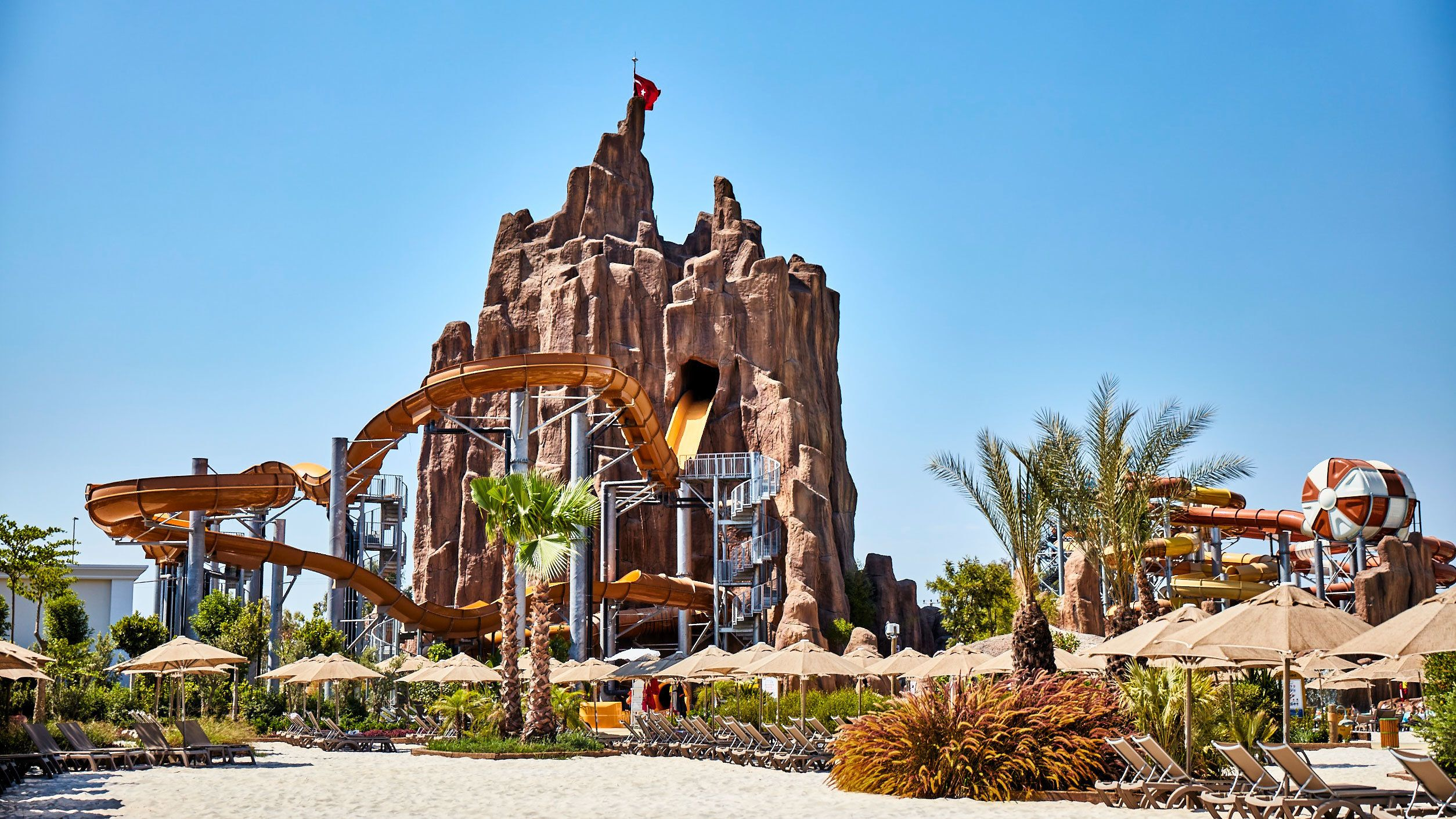 Tower falls attraction at Land of Legends theme park in Antalya