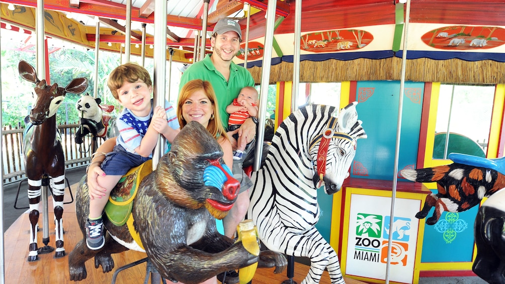 Show item 2 of 10. Family on carousel at Zoo Miami