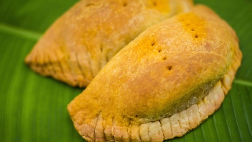 Savory pastries on leaf in Costa Rica