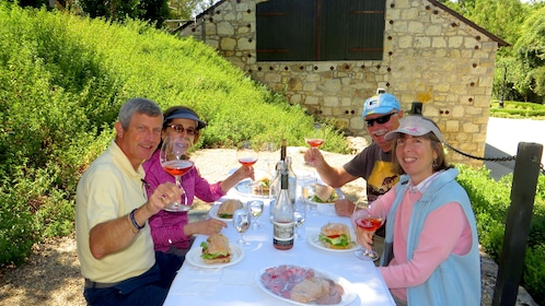 Segway tour group eats lunch in Sonoma Valley Winery