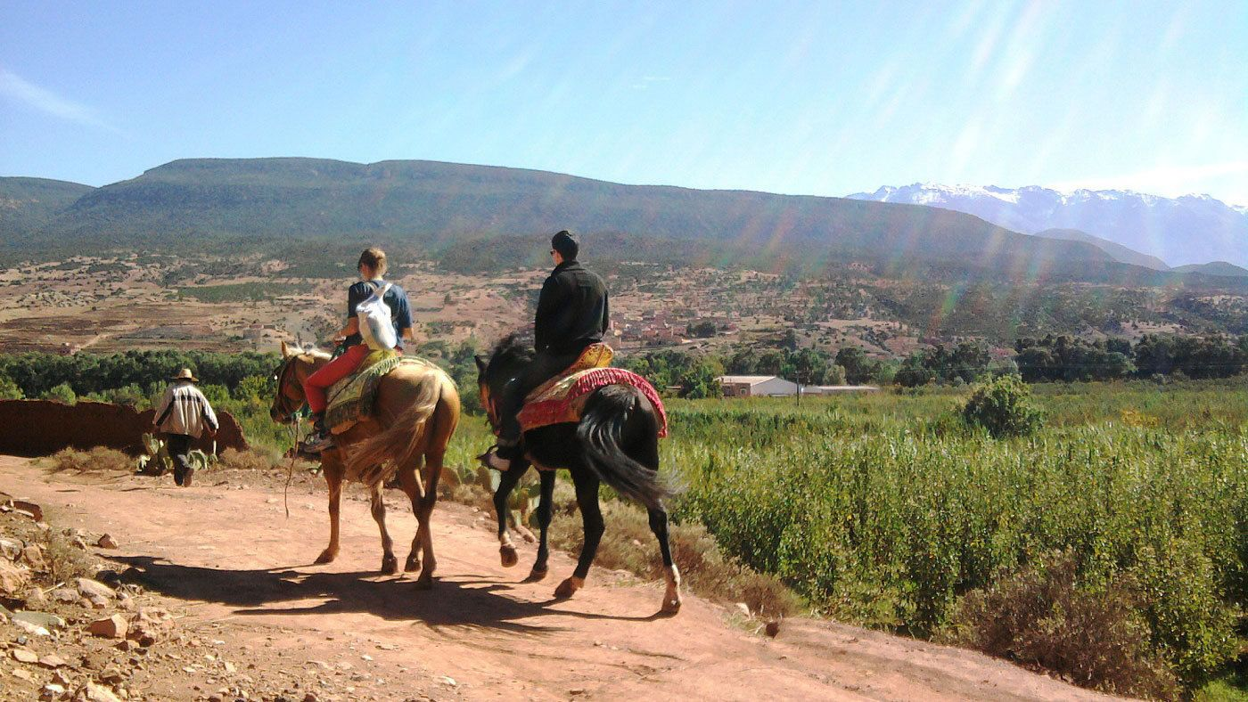 Tourists on horseback riding down trail in Marrakech