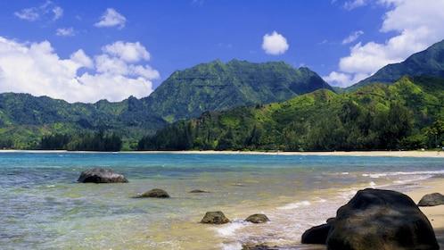 beautiful beach and mountain scenery in Kauai