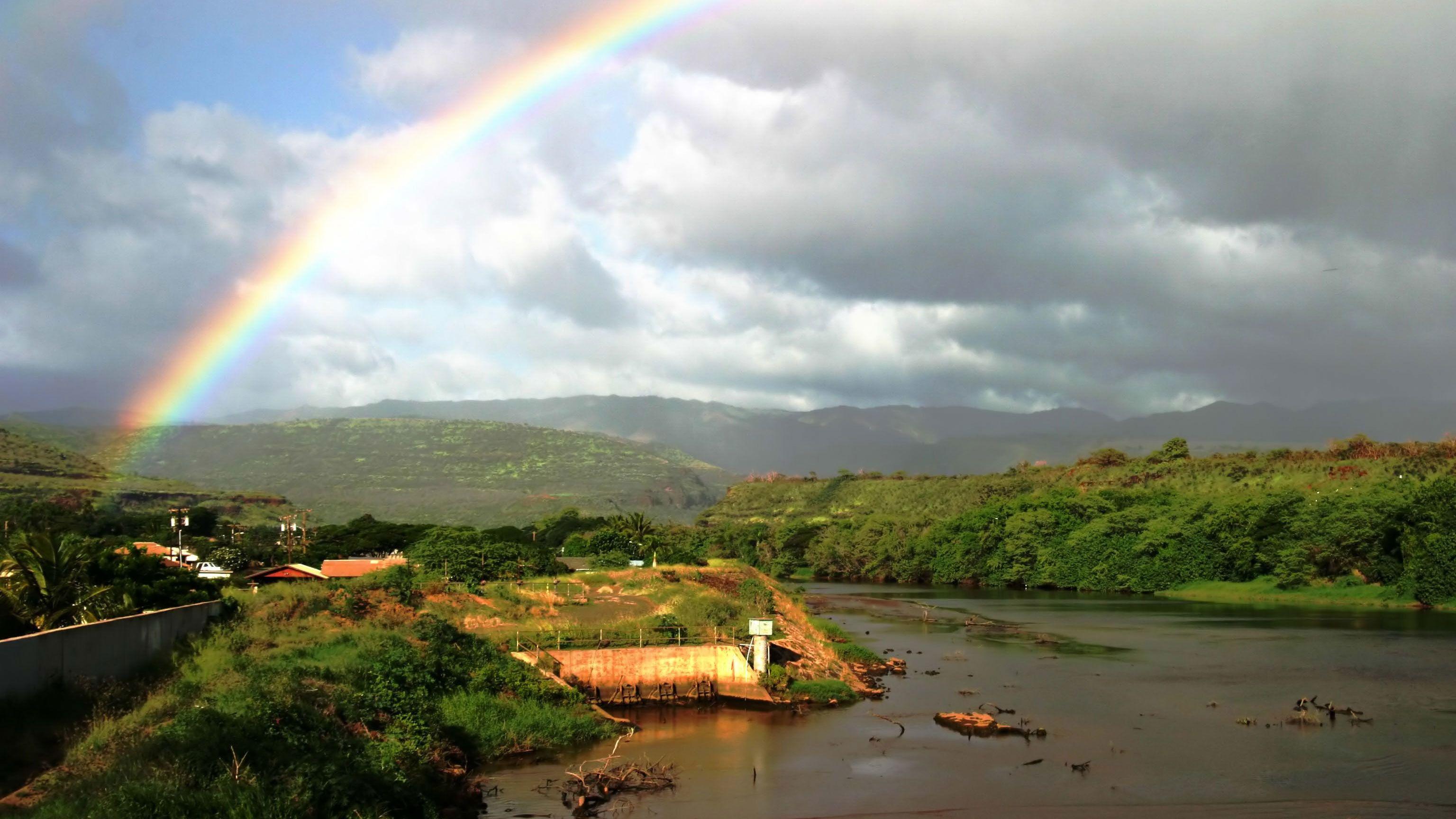 rainbow over Waimea Canyon in Kauai