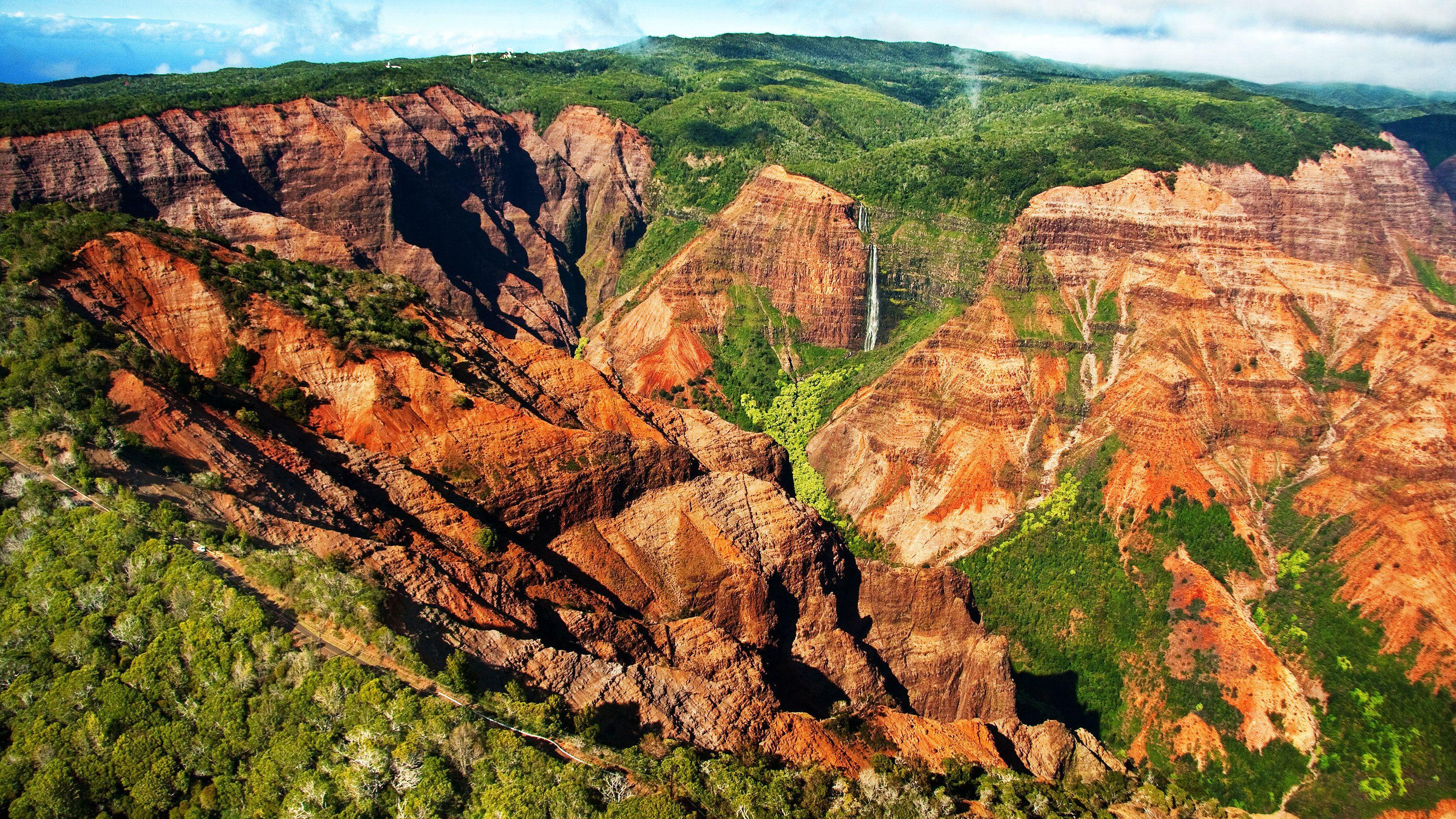 ariel view of Waimea Canyon in Kauai