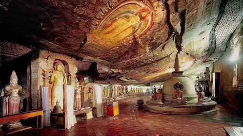 Inside Dambulla Caves in Sri Lanka
