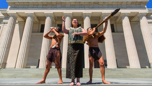 Maori performers outside of Auckland Museum