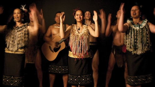 Maori performers in mid routine in Auckland