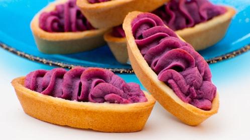 Cookies with purple frosting in Okanawa