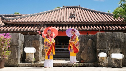 Women dressed in cultural clothing in Shurijo Castle Park in Okinawa