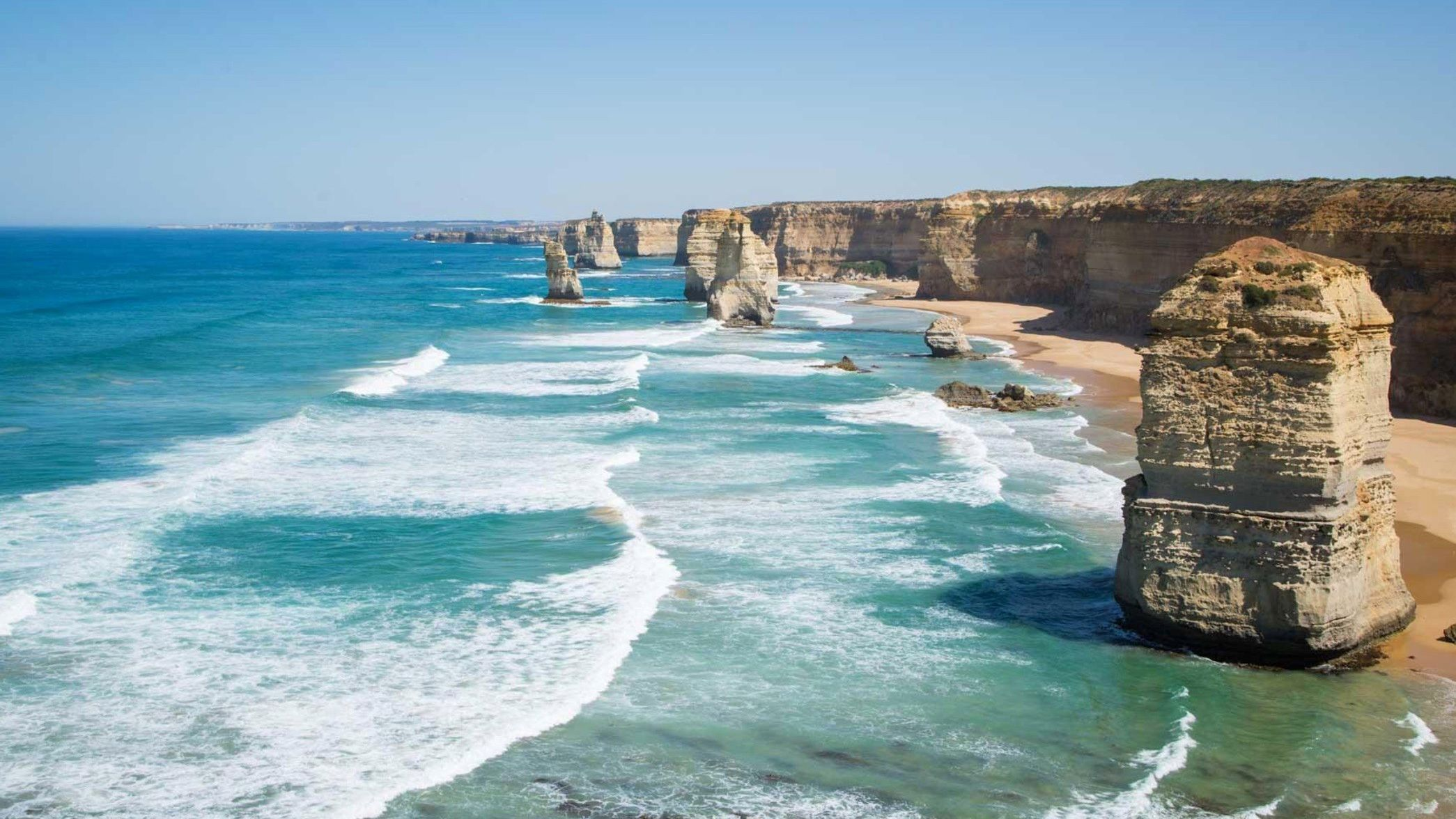 Cliffs and rock formations along the coast of Melbourne