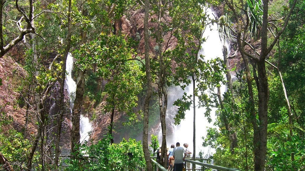 Tourist view waterfalls at Litchfield National Park