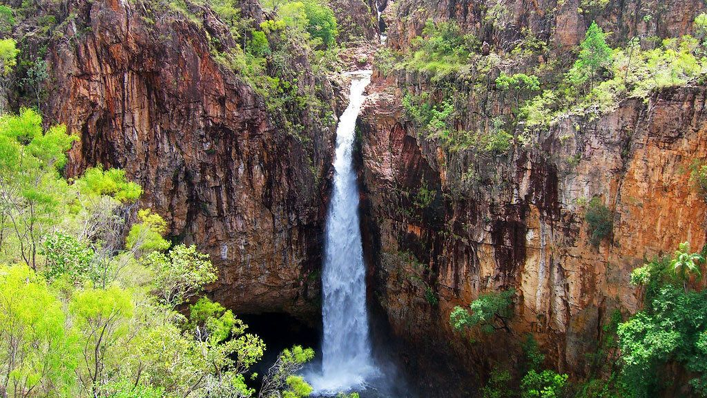 Ariel view of waterfall at Litchfield National Park