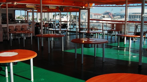 Dining on the deck of a boat in Naha