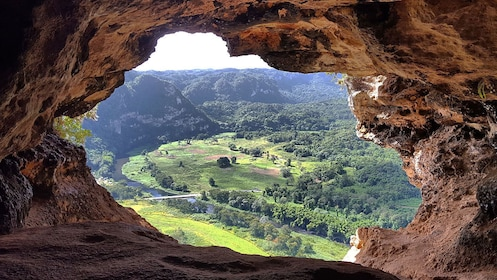 View of the valley from cave opening on cave ecotour in Puerto Rico