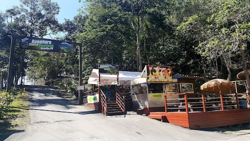 Entrance to park with food stands on cave ecotour in Puerto Rico