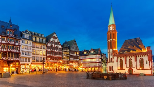Historic district at dusk in Frankfurt