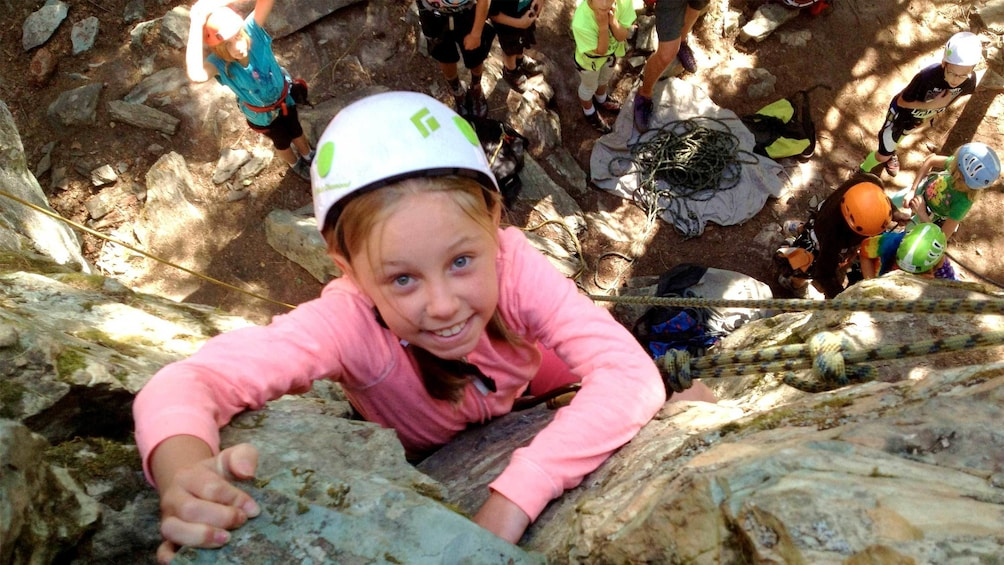 Show item 1 of 5. Young girl climbing on the Stryker Rock Climbing adventure in Billings, MT