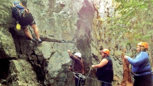 View of a group on the Stryker Rock Climbing tour in Billings, MT