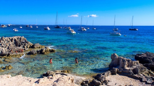 Beach and rock formations in Ibiza