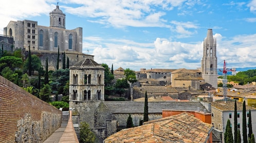 View of the city of Girona and cathedral