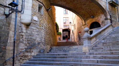 Stone steps and walkway in Girona