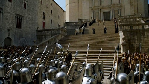 Scene from Game of Thrones with steps of cathedral in Girona